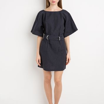 Finders Keepers Dissolve Dress - Pinstriped Belted Dress -
