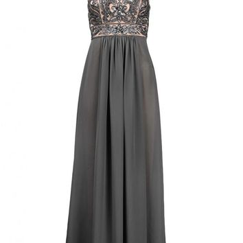 Sue Wong N4102 Charcoal Sequin & Chiffon Evening Gown