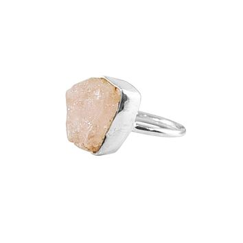 Rose Quartz Raw Crystal Ring Sterling Silver