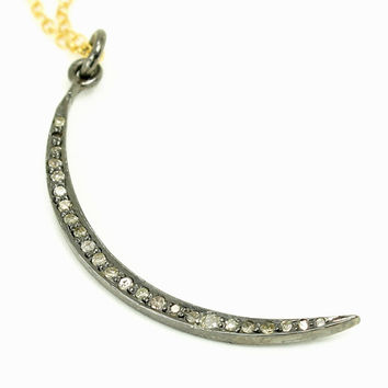 Natural Champagne Diamond Crescent Moon Pendant Necklace - Oxidized Sterling Silver setting -14K Yellow Gold Chain - April Birthstone