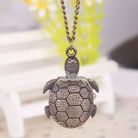 $6.99  Vintage Bronze Turtle Pocket Watch Locket Necklace at Online Vintage Jewelry Store Gofavor