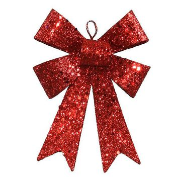 ONETOW 5' Red Sequin and Glitter Bow Christmas Ornament
