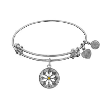 "Non-antique Stipple Finish Brass with Enamel ""daisy Flower"" Expandable Bangle"