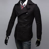 Turn-down Collar Buttoned Long Sleeves Woolen Coat