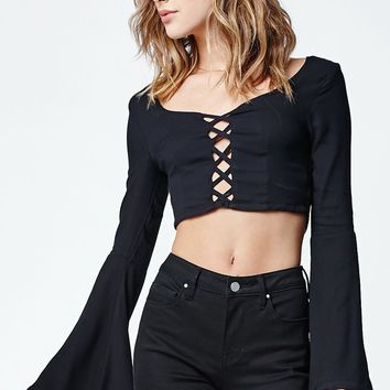 LA Hearts Crisscross Cutout Cropped Top - Womens Shirts - Black