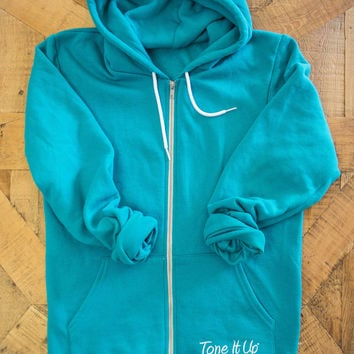 Tone It Up Fleece Zip Hoodie (Mint) - LARGE ONLY
