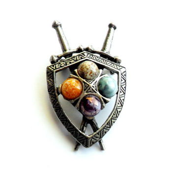Vintage Scottish Shield Brooch Faux Agate Glass Cabochon Pewter Silver Tone Metal Sword Coat of Arms Purple Orange Blue Miracle