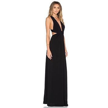 Women's Plunging Neck Side Cutout 2-Ply Crepe Gown