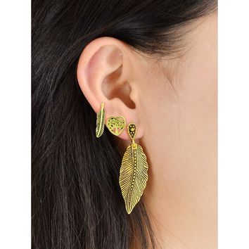 3 Pcs/Set Geometric Heart Feather Cute Earrings