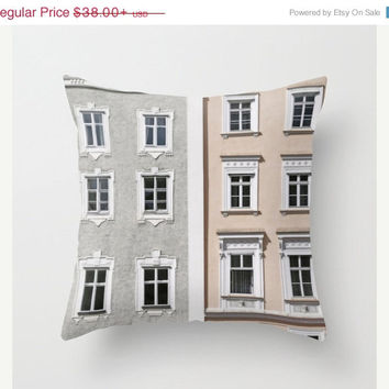 FOUR DAY SALE Gray and Beige European Buildings - Throw Pillow Cover - Architecture - For Him - For Her - Neutral