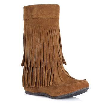 Mid-Calf Slip-On Boots with Fringe Design