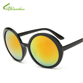 New Fashion Round Frame Sun Glasses Women Vintage Color Film Sunglasses12 Colors Round Box Repair Face Sunglasses Drop Shipping