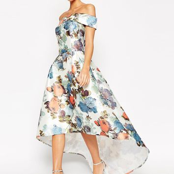 Chi Chi London Premium Bandeau High Low Maxi Dress In Garden Floral Print