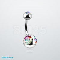Double Eyed Gem Ball Steel Belly Ring