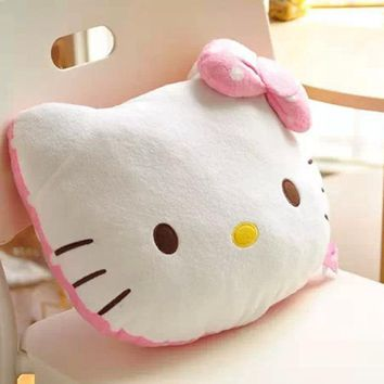 High Quality Lovely Hello Kitty Pillow Soft Hand Warmer Warm Stuffed Plush Hello Kitty Cushion Winter Gifts