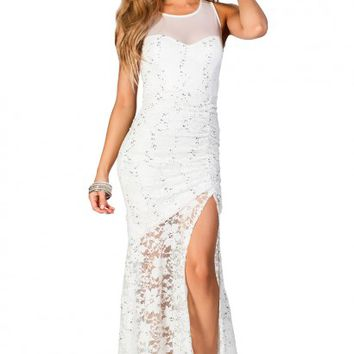 Giordana White and Silver Sleeveless Long Lace Dress with Sequin Accents