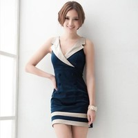 Naval Style Dark Blue Sleeveless Dress - Free Worldwide Shipping from Califorward