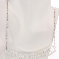 Silver Mirrored GET UR FREAK ON Pendent Necklace