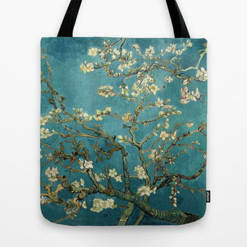 Blossoming Almond Tree, famous post  impressionism fine art oil painting by Vincent van Gogh.  Tote Bag by NatureMatters