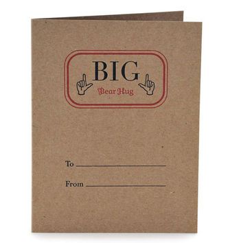 Big Bear Hug Letterpress Card