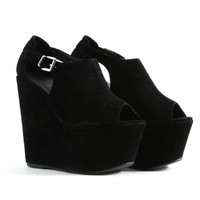Missguided - Andreja Suede Peep Toe Wedges In Black