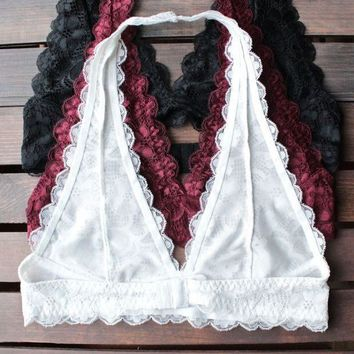 Lace Halter Bralettes (black Burgundy White)