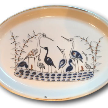 Mid Century Wall Decor Ideas - Decorative Plate For Display White & Navy Crane / Egret / Heron