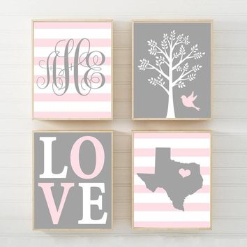 Pink Gray Nursery Wall Art, Baby Girl Nursery Decor, State Love Tree Bird, Girl Monogram Decor, Girl Tree Nursery CANVAS or Print Set of 4