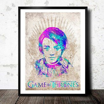 Arya Stark. Princess Of Winterfell. Game Of Thrones Poster. House Stark Poster. Watercolor Poster. Handmade Poster.