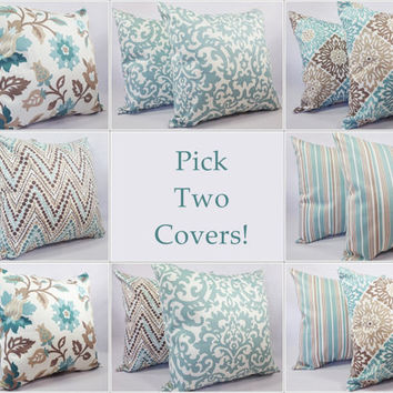 Blue and Brown Pillow Covers - Two 16 x 16 Throw Pillow Covers - Blue Decorative Pillow Covers - Blue Couch Pillows - Blue Pillow Covers
