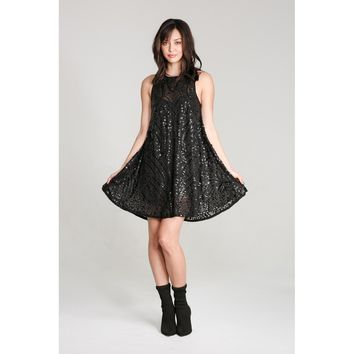 Sequin Casual A Line Dress