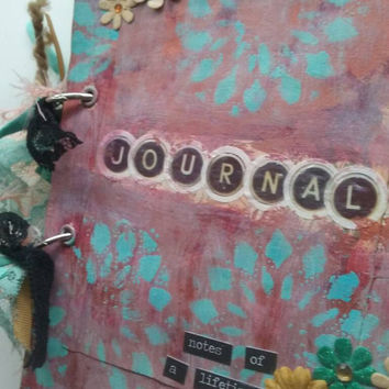 Vintage style junk journal. Smash book. Mixed media journal. Price includes USA shipping.
