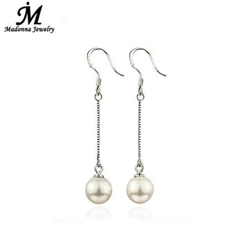 2017 Luxury Senior Long Imitation Pearl Beads Stud Earrings For Women Ear Hook Jewelry fits School Prom Accessories