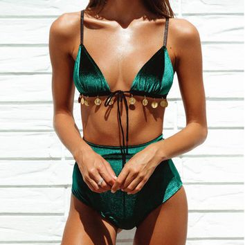 Newest Fashion Women Retro Green Bind High Waist Two Piece Bikini Swimsuit Bathing