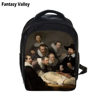 Toddler Backpack class Da Vinci Mona Lisa Painting Kindergarten Backpack For Boys Girls Picasso Drawing Children School Bags Kids  AT_50_3