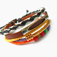 jewelry bangle leather bracelet man bracelet women barcelet  made of leather ropes wood beads and metal bracelet cuff  SH-1487