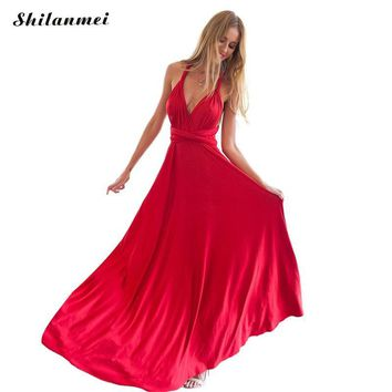 Summer Sexy Dress Women Red Beach Long Bandage Multiway Convertible Dresses Infinity Wrap Robe Maxi Dress Wrap