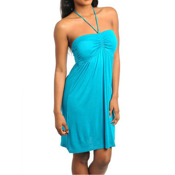 Draw String Casual Halter Dress in Blue