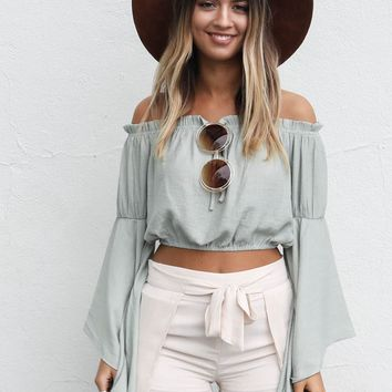 All The Years Sage Bell Sleeve Crop Top