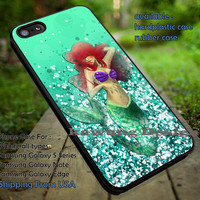 Princess Little Mermaid Glitter Green iPhone 6s 6 6s+ 5c 5s Cases Samsung Galaxy s5 s6 Edge+ NOTE 5 4 3 #cartoon #disney #animated #theLittleMermaid dt