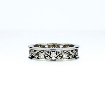 Size 5.75, Diamond filigree ring made from white gold, unique engagement ring, wedding band, filigree rings, vintage, diamond engagement