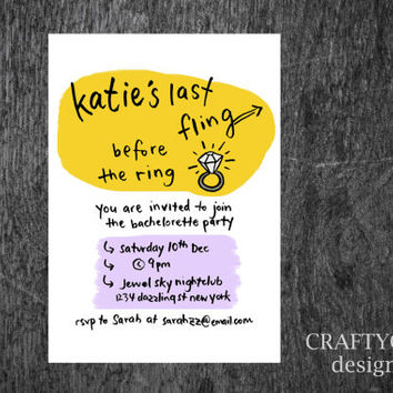 Bachelorette Invitation, Customized Bachelorette Party Invitation, Bachelorette Card, Printable, Printed Cards