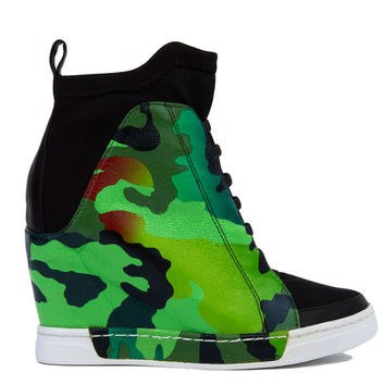 Privileged by J. C. Dossier Rowe Neoprene Camo Sneaker Wedges