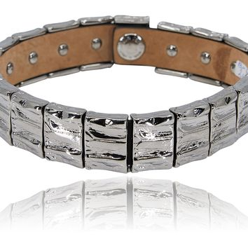 Roberto Cavalli Etched Silver Cubed Leather Slide Choker Necklace