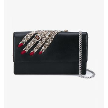 ALEXANDER MCQUEEN | Jewelled Hand Insignia Chain Leather Clutch | Womenswear | Browns Fashion