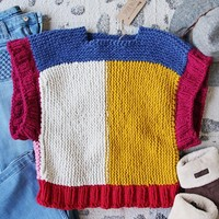 Vintage Nubby Color Block Sweater