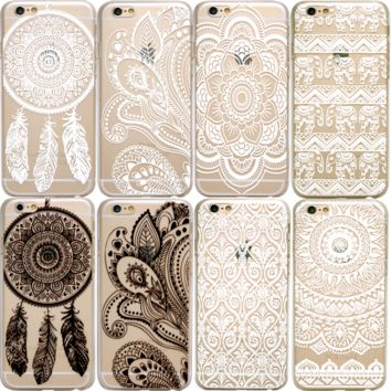 HENNA Paisley Mandala Tribal Clear Phone Case iPhone 7 Plus 6 6S SE 5S 5 8 X