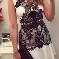 White V-Neck Floral Lace Summer Dress
