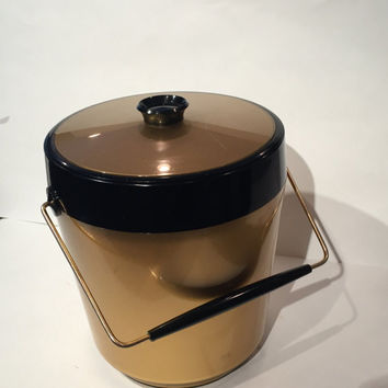 Thermo Serv Ice Bucket, Mid Century West Bend Thermo-Serv Gold and Black Ice Bucket, Vintage Gold Black Retro Barware, Mad Men Ice Bucket