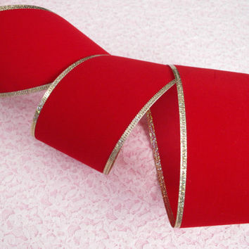 "Red Christmas Ribbon, 2 1/2"" Wide, Wired Gold Edge, Baskets, Bows, Wreaths, Holiday Home Decor, Ribbon Decorations, 5 YARDS"